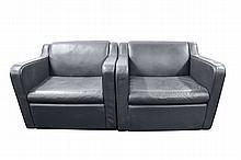 Pair Modern Blue Leather Club Chairs