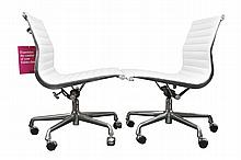 Pair of Herman Miller Eames White Leather Aluminum Chairs