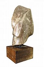 Abstract Marble Sculpture on Mahogany Base