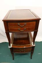 Pair of Leather Top Mahogany endtables