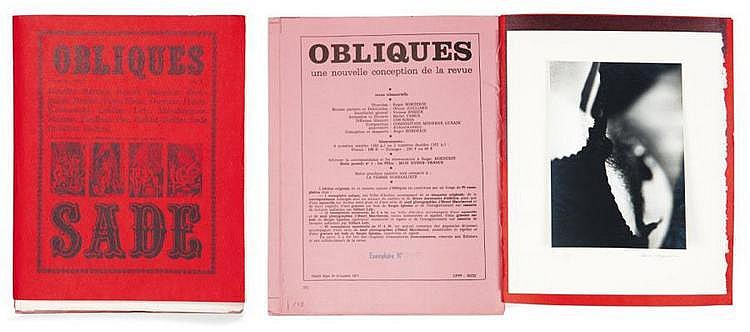 MACCHERONI, Henri (1932) Obliques Sade. Nyons : Roger Borderie, (1977) In-4° (29,5 x 22,5 cm) Broché. Edition originale. Un des 83...