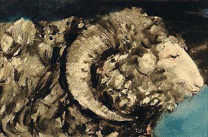 Edmond Dubrunfaut (1920-2007) Bélier Aquarelle et
