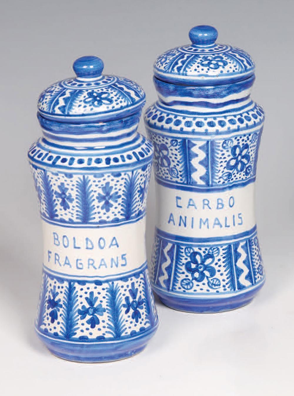 Coppia di vasi da farmacia con coperchi in ceramica bianca e blu Pair of covered medicine jars in white and blue ceramic