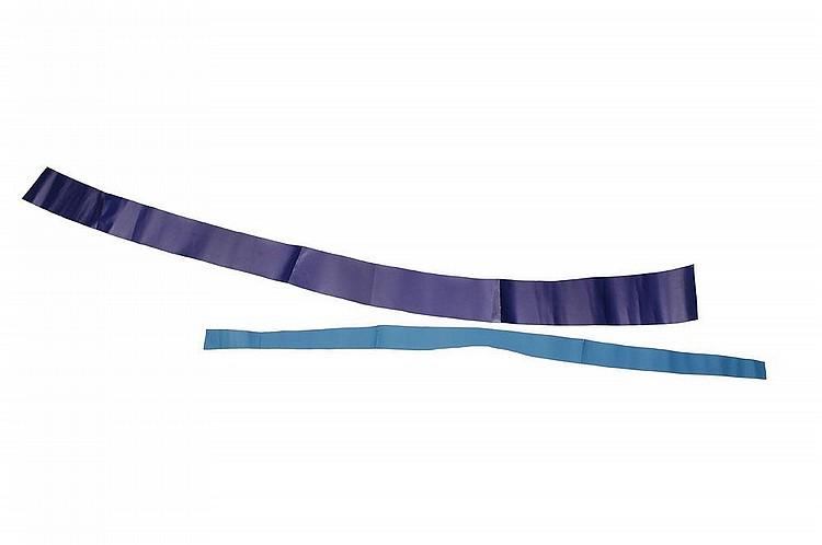 GUY MEES (1935-2003) Verloren Ruimte, 1991 Papier coloré (blue) H_260 cm L_85 cm