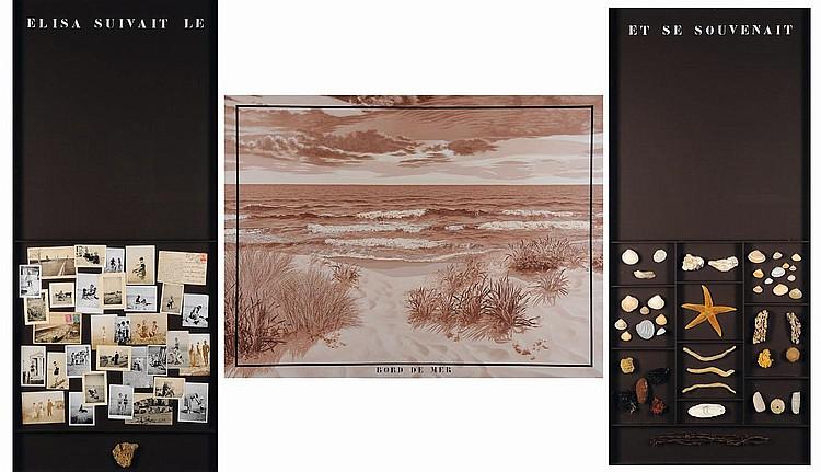 JACQUES LENNEP (NÉ EN 1941) Bord de mer, 1980 Triptyque. Acrylique sur toile, objets divers et collage de photographie. Signé, tit...