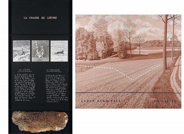 JACQUES LENNEP (NÉ EN 1941) La chasse au lièvre, 1980 Diptyque. Acrylique sur toile, collage de photographie et peau de lièvre. Si...