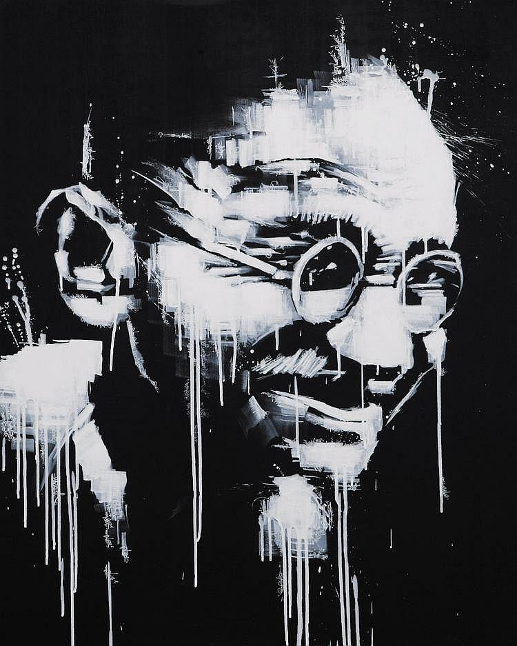 THOMAS CANTO Gandhi, 2010 Acrylique sur toile H_92 cm L_72,5 cm