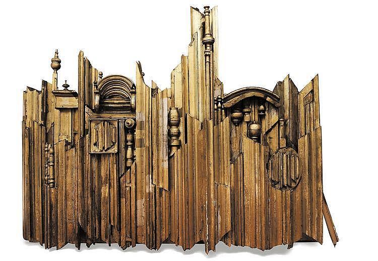VIC GENTILS (1919-1997) La Grand-Place de Bruxelles, 1966-1967 Sculpture en bois composée d'éléments d'architecture, traces de dor...