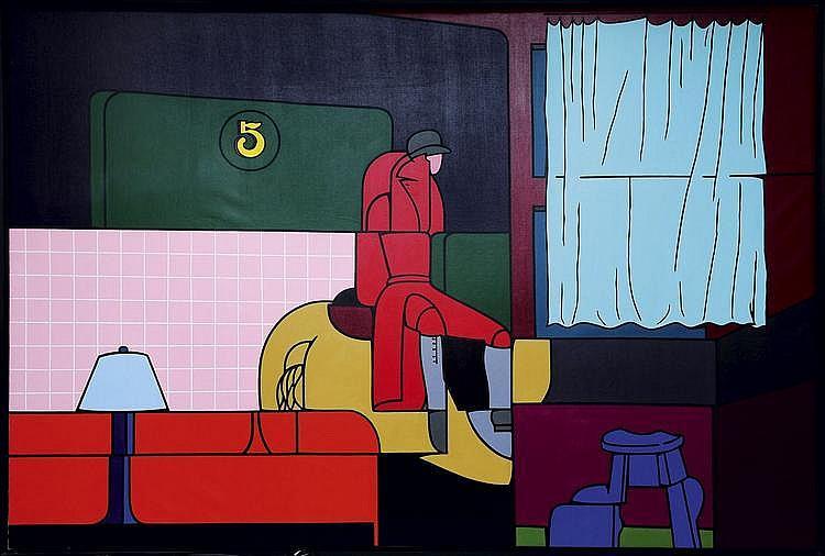 VALERIO ADAMI (NE EN 1935) Lady's fashionable sport jacket, 1968-1969 Huile sur toile. Signée, titrée et datée 26.11.68 et London ...
