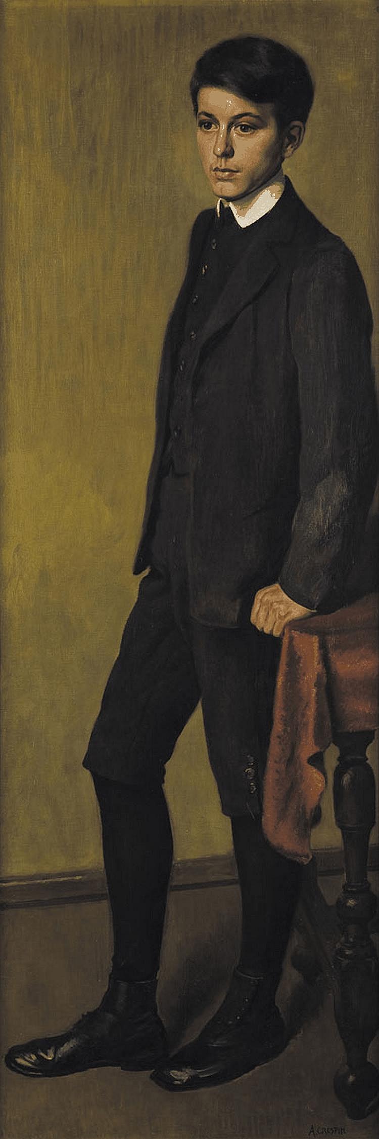 ADOLPHE CRESPIN (1851-1944) Portrait de jeune homme (le fils du peintre) Huile sur toile Signée en bas à droite H_170 cm L_50 cm...