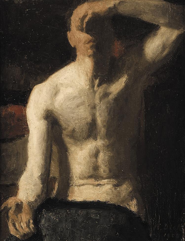 KARL DICK (1884-1967) Autoportrait, 1908 Huile sur toile Signée et datée en bas à droite H_82 cm L_65 cm