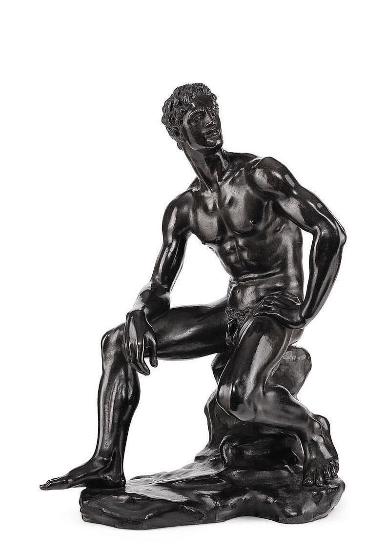 ARNO BREKER (1900-1991) Homme assis Bronze à patine verte et brune Signé sur la base Marque de fondeur : A Rudier, Paris H_54 cm...