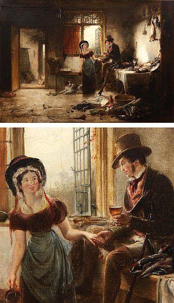 SIR DAVID WILKIE (CULTS 1785-AU LARGE DE MALTE 1841) Le repos du chasseur Toile. H_79,5 cm L_110 cm