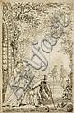 GABRIEL JACQUES DE SAINT AUBIN (PARIS 1724-1780) Le jardinier amoureux Lavis brun et pierre noire. H_11,5 cm L_7,5 cm, Gabriel de Saint-Aubin, Click for value
