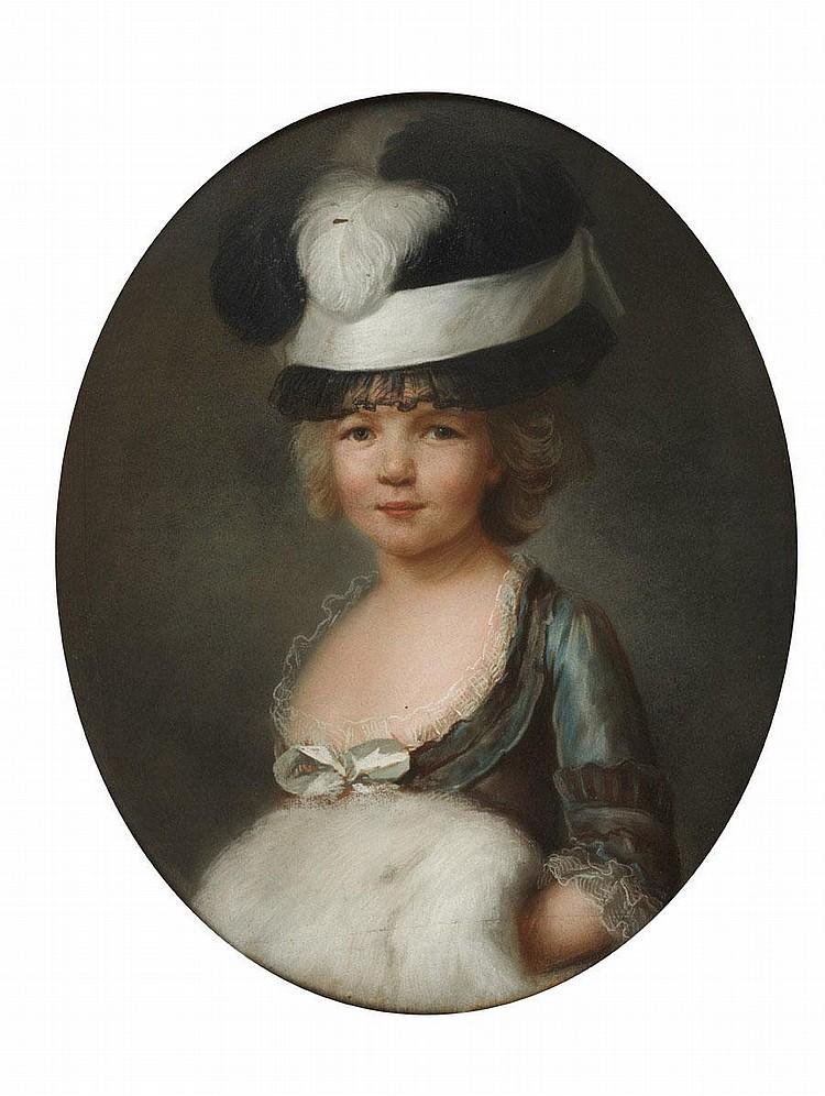 SIMON BERNARD LENOIR (PARIS 1729-1791) Portrait de jeune fille en robe de ton changeant, les mains dans son manchon Pastel ovale. ...