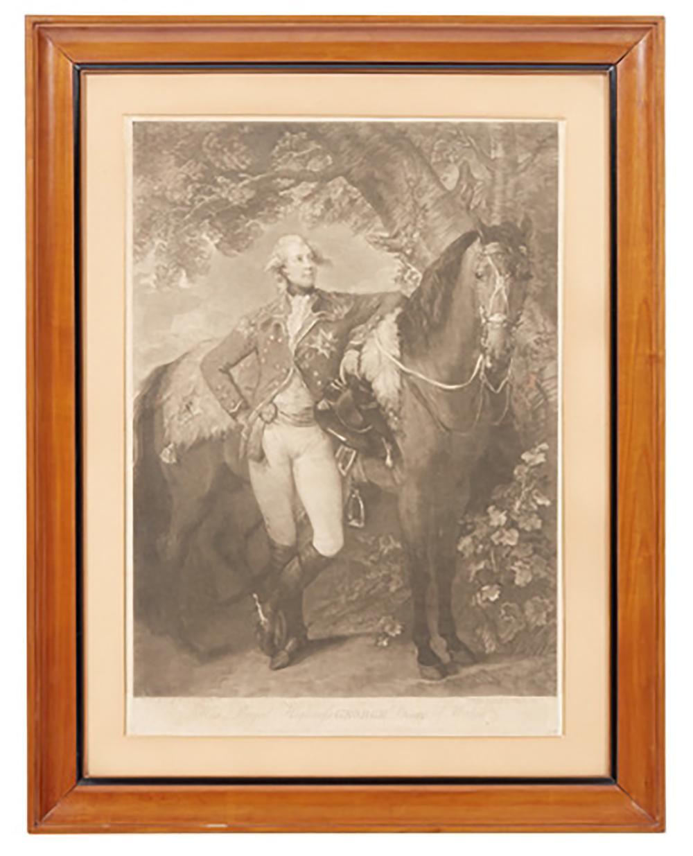 HIS ROYAL HIGHNESS GEORGES PRINCE OF WALES COPPIA DI INCISIONI SU CARTA (MACCHIE). CON CORNICI