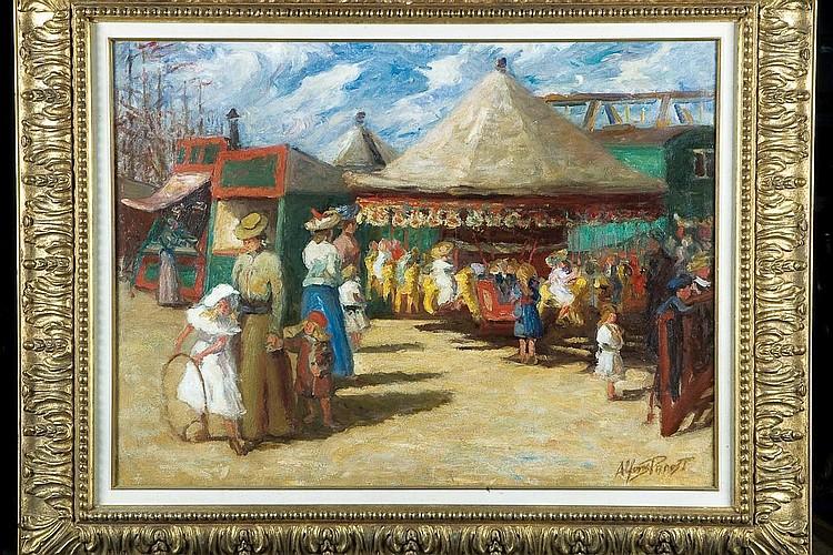 ALFONS PROOST (1880-1957) Scène animée de kermesse Huile sur toile. Signée en bas à droite. H_59 cm L_79 cm