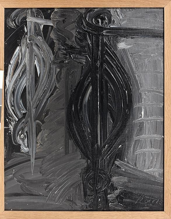MICHEL FRERE (NE EN 1961) Sans titre, 1984 Huile sur carton. H_50 cm L_40 cm