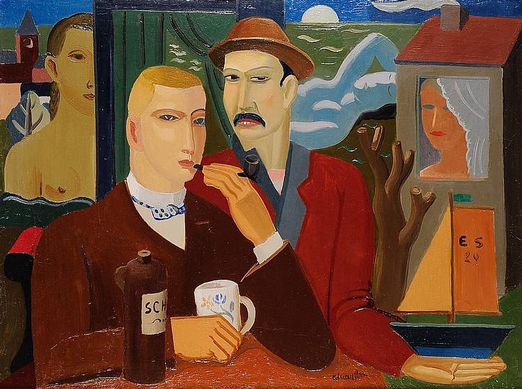 EDGARD SCAUFLAIRE (1893-1960) Les voyages de l'âme, 1929 Huile sur toile. Signée en bas à droite, monogrammée et datée en bas à dr...