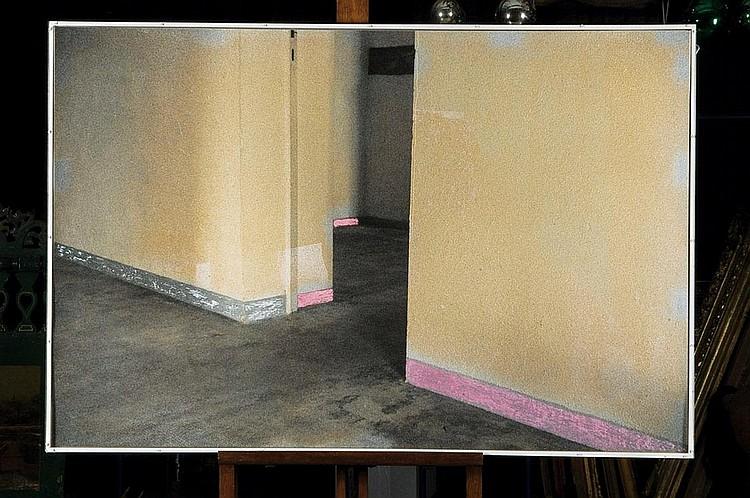 GUY MEES (1935-2003) Sans titre, circa 1980-90 Bombe aérosol et pastel gras sur photo Signée au dos H_83 cm L_125 cm