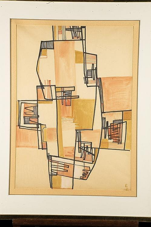KURT LEWY (1898-1963) Sans titre, Composition, 1962 Aquarelle et feutre sur papier Monogrammé et daté en bas à droite H_67 cm L_49...