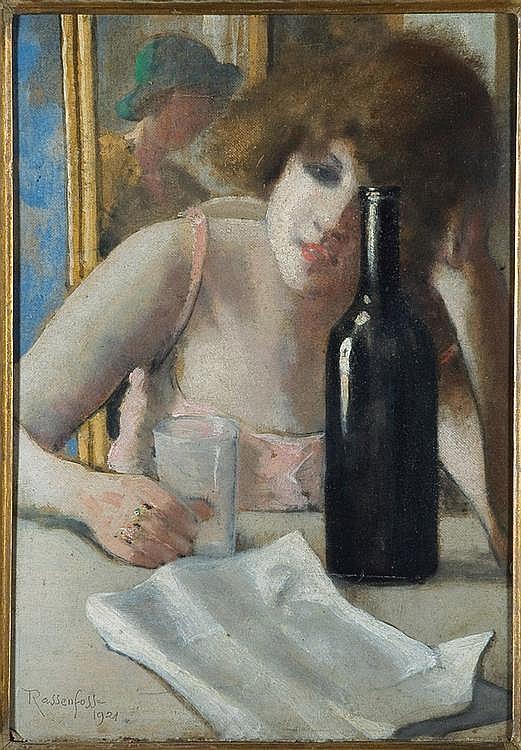 ARMAND RASSENFOSSE (1862-1934) La lettre, 1921 Huile sur toile marouflée sur panneau. Signée et datée en bas à gauche. Etiquette A...