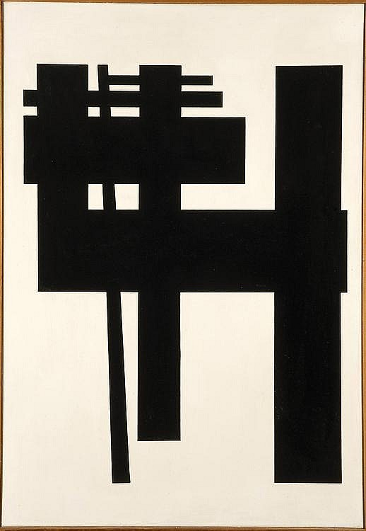 GUY VANDENBRANDEN (NÉ EN 1926) Sans titre, Composition, 1958 Huile sur toile Signée et datée au dos H_80 cm L_55 cm