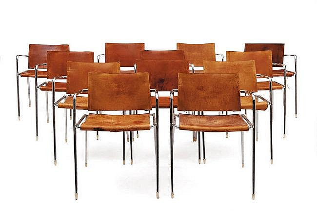 Christophe Gevers (1928-2007) Suite de 12 chaises