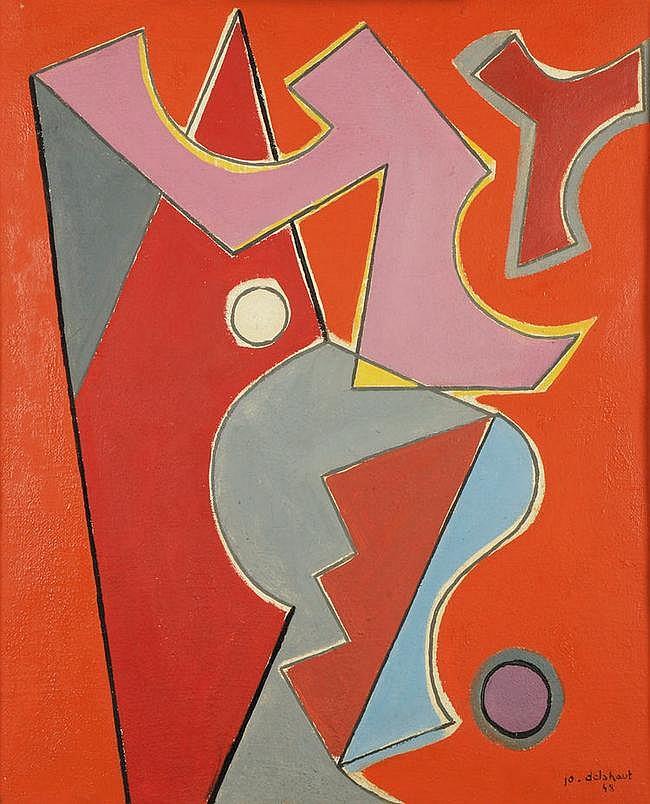 Jo Delahaut (1911-1992) Menace, 1948 Huile sur