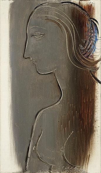 Roberta Gonzalez (1909-1976) Profil, 1959 Huile