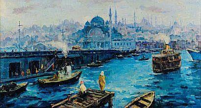 IBRAHIM SAFI (1898-1983) Vue du port de Galata