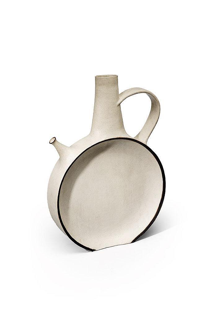 BRUNO GAMBONE (NÉ EN 1936) - Pièce unique Importante céramique en Grès blanc et bord noir 1984-1985 H_90 cm L_62 cm P_14 cm