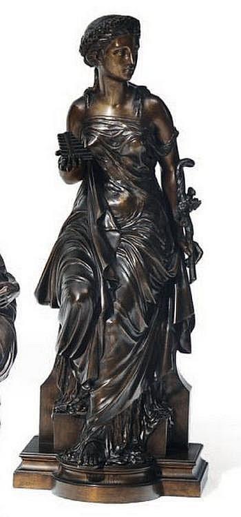 AUGUSTE JOSEPH PEIFFER (1832-1896) Idylle Bronze à patine brune nuancée. Signé et titré sur la terrasse. H_67 cm L_27 cm P_24 cm...