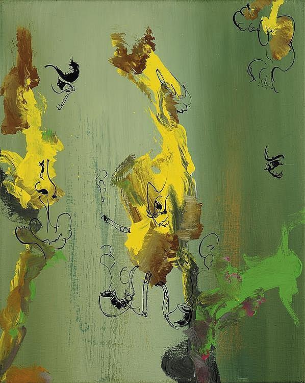 STEPHANE CALAIS (NÉ EN 1967) Dans le vent Acrylique sur toile signé au dos. H_49,5 cm L_39,5 cm