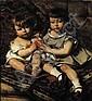 EDOUARD AGNEESSENS (1842-1885) Les enfants Janssens ou les enfants au polichinelle, 1876 Huile sur toile. Signée et datée en bas à..., Edouard Agneesens, Click for value