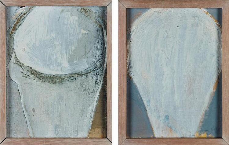 RONNY DELRUE (NÉ EN 1957) Sans titre, 1993 Paire d'huiles sur toile. Signées et datées au dos. H_24 cm L_18 cm (chacune)