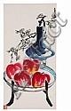 QI LIANGYI (1923-1988) Nature morte aux pommes et aux fleurs de prunier dans un vase Peinture polychrome sur papier montée en roul...