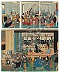 LOT DE : A - YOSHIKAZU ICHIKAWA (ACTIF VERS 1850-1860) Goka Koku Jin Shuen no zu Banquet réunissant des étrangers de cinq contrées...,  Yoshikazu, Click for value