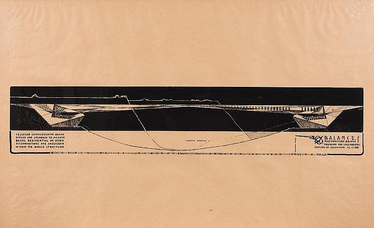 PAOLO SOLERI (NE EN 1919) Projet de ponts sur l'Alzette, Luxembourg Sérigraphie sur papier. 1958 H_75 cm L_120 cm