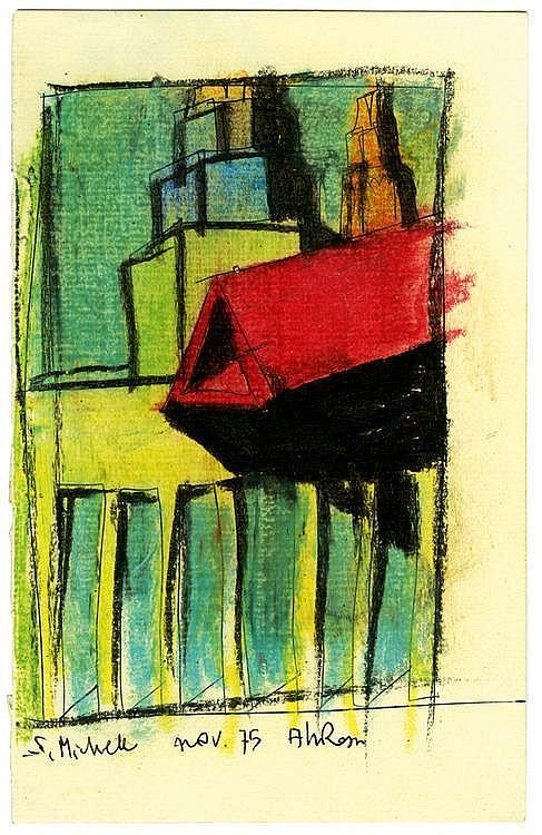 ALDO ROSSI (NE EN 1931) San Michele Encre et pastel sur carton. Titrée signée, datée, S. Michele Nov 75 Aldo Rossi. 1975 H_19,6 cm...