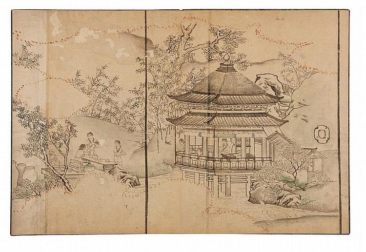 GOSHUN (1752-1811, DIT MATSUMURA GEKKEI) Album de dessins pour fusuma Album en accordéon de dessins à l'encre de Chine noire et de...