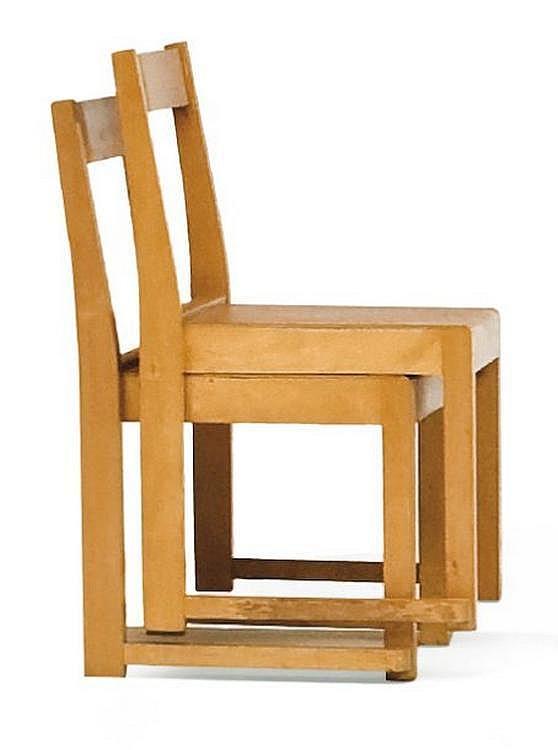 SVEN MARKELIUS (1889-1972) Paire de chaises empillables en bouleau. Création 1932. Édition Bodafors. Rare dans ce petit format pou...