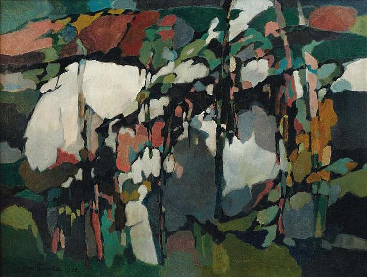 PIERRE DMITRIENKO (1925-1974) Le verger, 1955 Huile sur toile. Signée et datée en bas à gauche P. Dmitrienko. 1955. H_89 cm L_116,...
