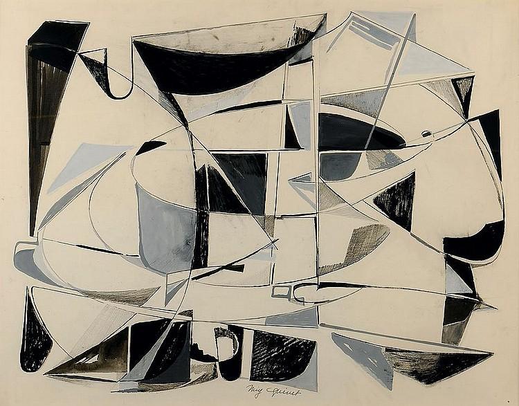 MIG QUINET (1908-2001) Composition Aquarelle et crayon sur papier. Signé en bas au centre. H_53 cm L_68 cm