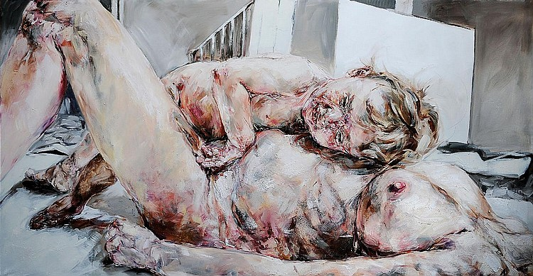 PHILIPPE PASQUA (NE EN 1965) Isabelle et Simon, 2003 Huile sur toile. Signée, titrée et datée au dos. H_200 cm L_400 cm