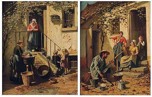 LUCIEN GERARD (1852-1935) La lavandière ; L'étaimier Deux toiles signées en bas à droite formant pendants. H_78 cm L_59 cm