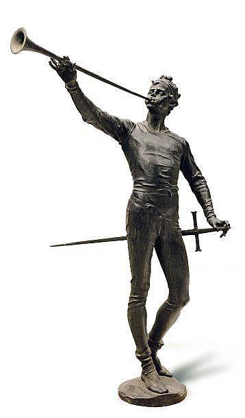 GUILLAUME DE GROOT (1839-1922) Héraut en armes, sonneur de trompe Grand bronze signé et daté 1887 sur la terrasse (restaurations) ...