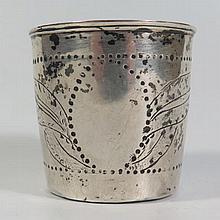 An Eighteenth Century Norwegian Silver Beaker with chased foliate decoratio