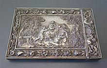 An Elkington Electrotype Card Case decorated with a central reserve of putt