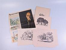 Ian Ribbons, Two Pen and Ink Drawings 1957, 15 x 9 cm etc